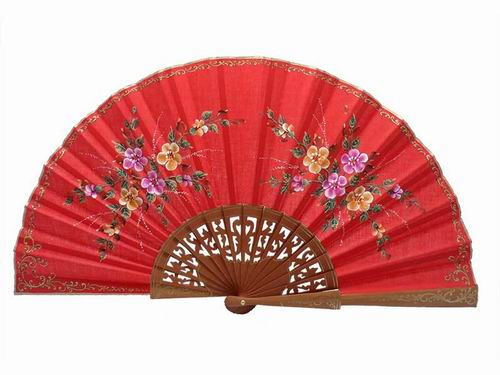 Red fan polished pear wood fan. 45X25cm