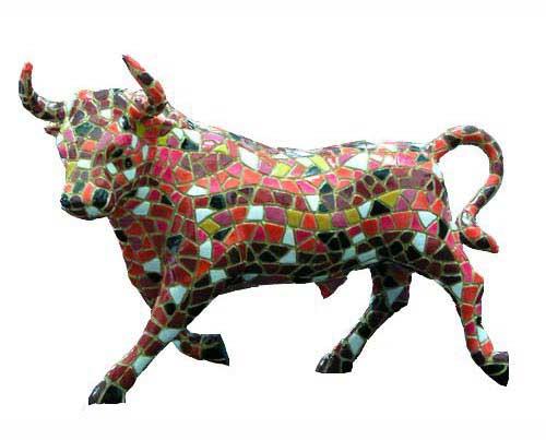 Mosaic Bull. Barcino. 36cm