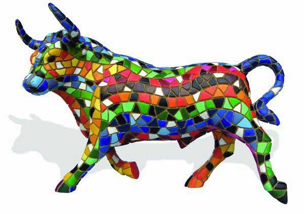 Mosaic Multicolored Bull. Barcino 36cm.