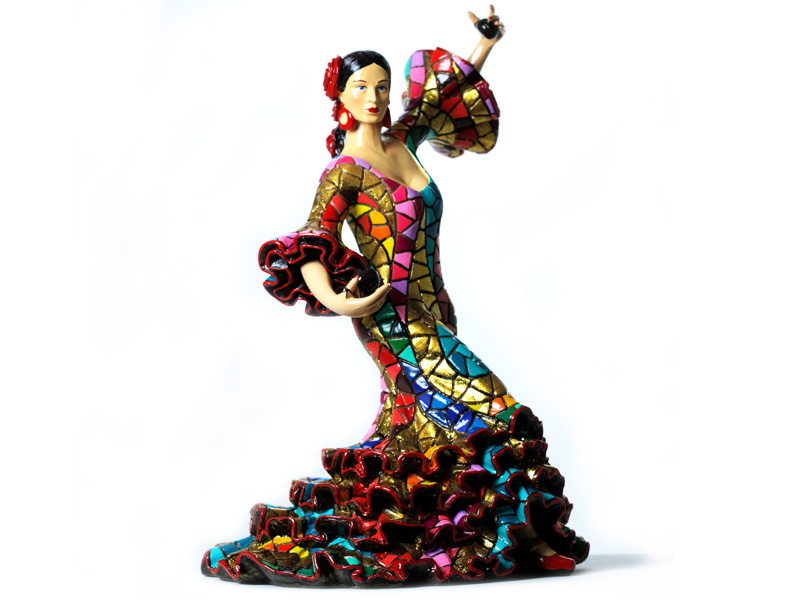 Carnival Bailaora Playing Castanets with Milticolor Flamenco Outfit. 40cm