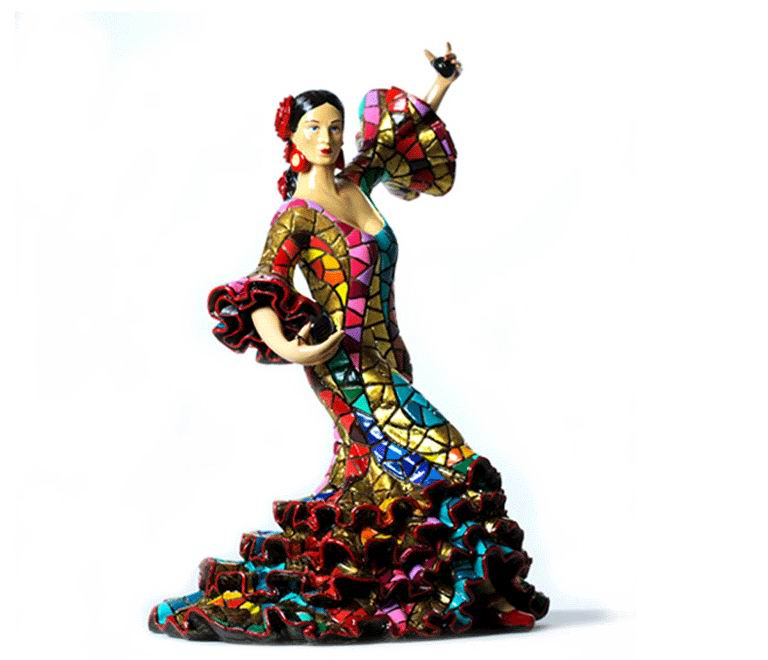 Carnival Bailaora Playing the Castanets with a Multicolor Flamenco Outfit. 13cm