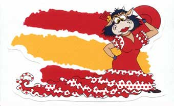 Spanish flag sticker with the Lola Cow