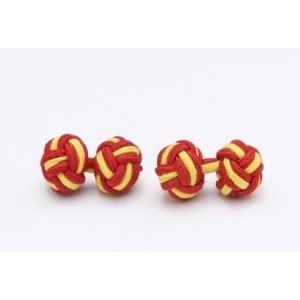 Cufflinks with red and yellow ball of elastic silk passementerie - Spanish flag