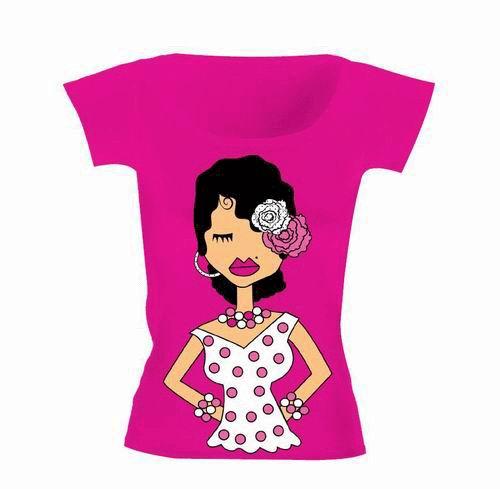 Polka Dots and Fuchsia Background Flamenco T-Shirt