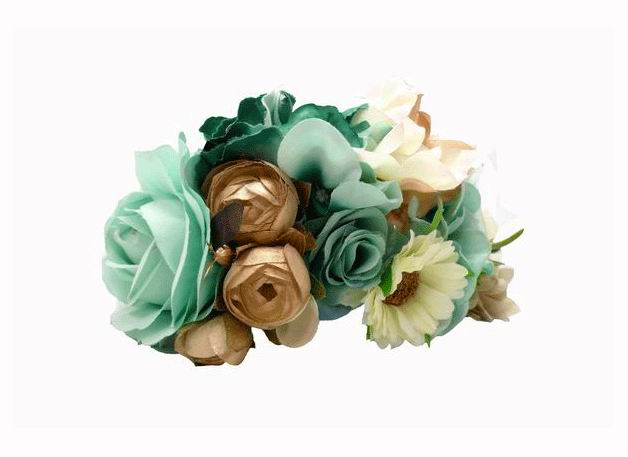 Big flower headdress. Light Green Beige, Dark Beige and Gold