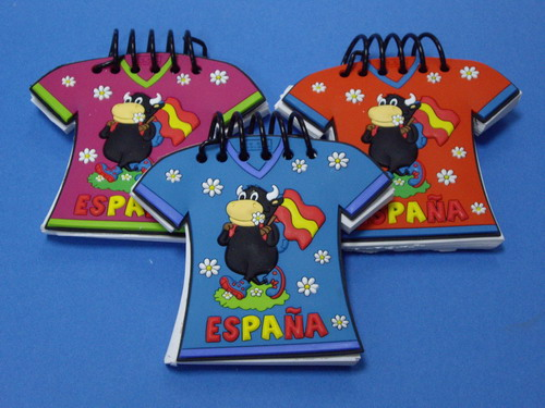 Fighting bull blocks notes with the Flag of Spain