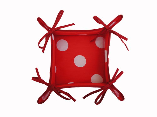 Red Breadbasket with White Polka Dots
