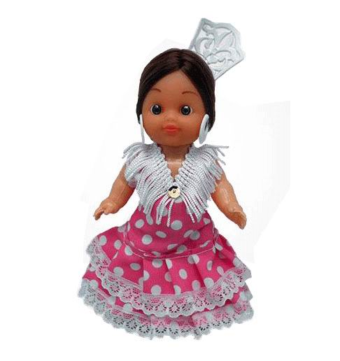 Flamenca Doll with Comb and Fuxia Dress with White Polka dots. 15cm