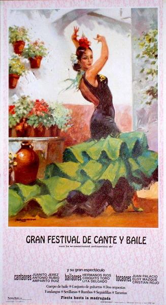 Green flamenca dancer poster