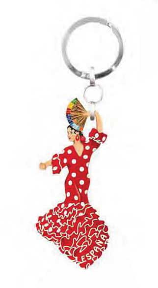 Keyring dancer red with white dots flamenco outfit
