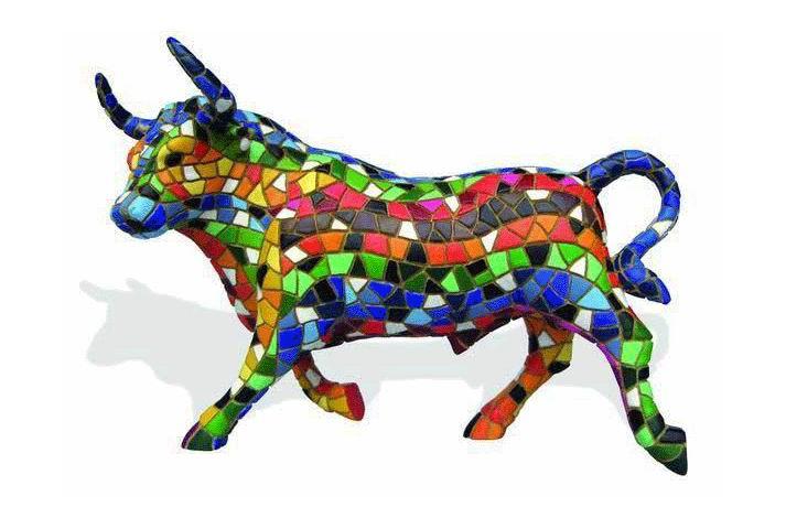Mosaic Multicolored Bull. Barcino 12cm. Ref. 29131