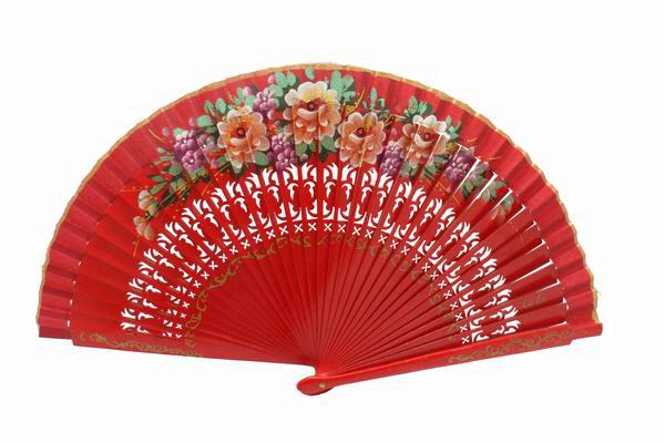 Cheap Red Wood Fan with Painted Flowers
