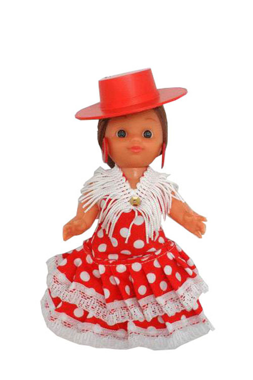 Flamenca Doll with Red with White Dots Dress and Red Hat. 15cm