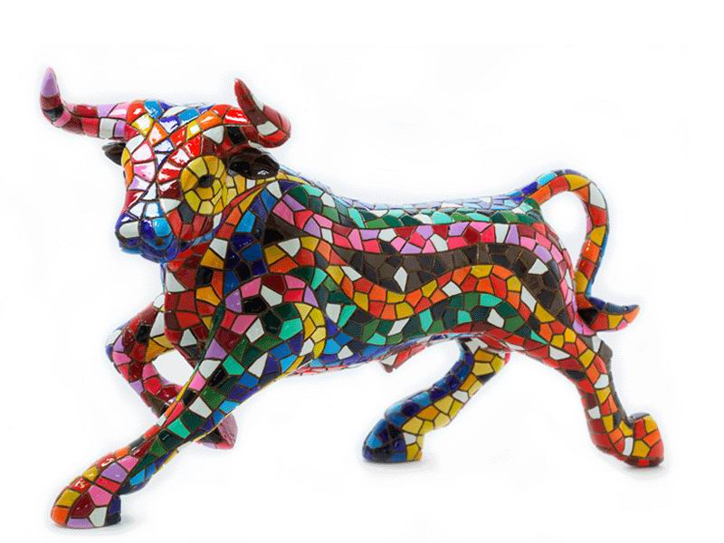 Multicolored Mosaic Bull from Barcino. 24cm
