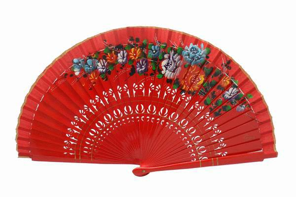 Cheap Red Wood Fan with Painted Flowers for Events