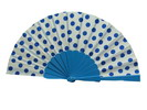 Polka Dots Fan. White Background With Blue Dots