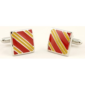Square Cufflinks Spanish Flag with large yellow and red strips