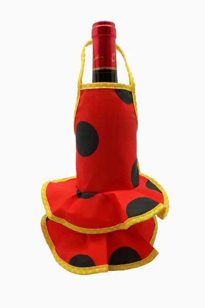 Delantal Flamenca para Botellas Rojo Lunar Negro