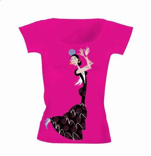 Fuchsia T-Shirt depicting a Flamenco dancer
