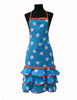 Turquoise Flamenco Apron with White Dots and ''Madroños''