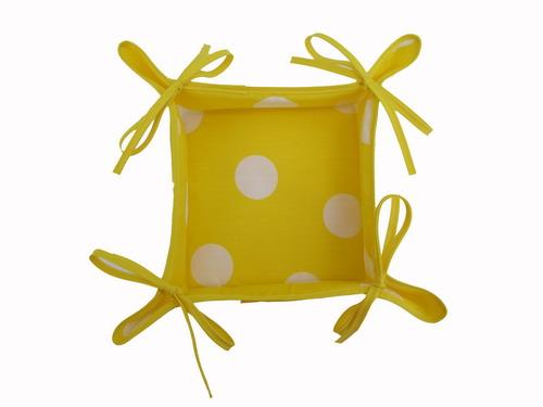 Yellow Breadbasket with White Polka Dots