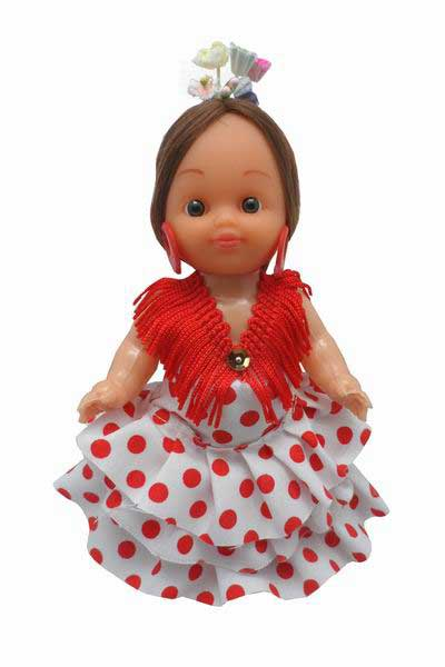 Flamenca Doll Dress with Red Dots and Flowers in the Head. 15cm