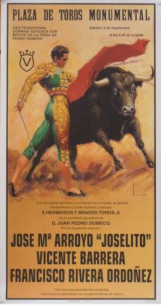 Poster of the Monumental bullring of Madrid. Toreros Joselito, Vicente Barrera and Francisco Rivera Ordoñez