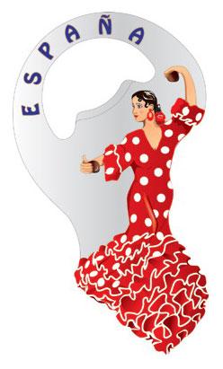 Bottle opener magnet red flamenco dancer