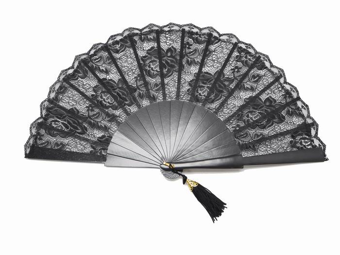 Black Lace Maid of Honor Fan. Ref. 1306