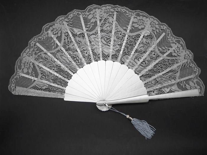 Silver Lace Fan for Ceremony. Ref. 1335