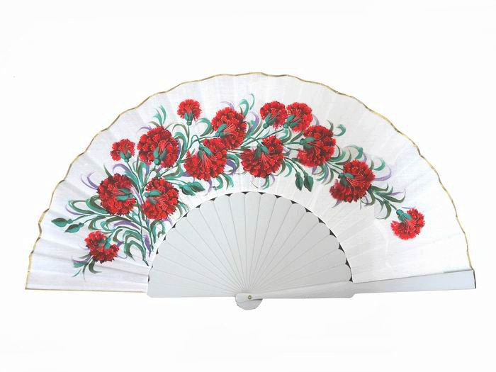 Hand painted Fan with Carnations and White Ribs