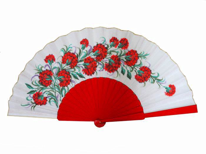 Hand painted Fan with Carnations and Red Ribs
