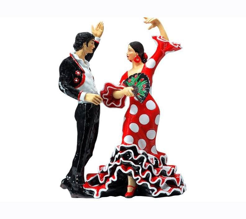 Pareja de Bailaores de Flamenco con Vestido Rojo Lunar Blanco