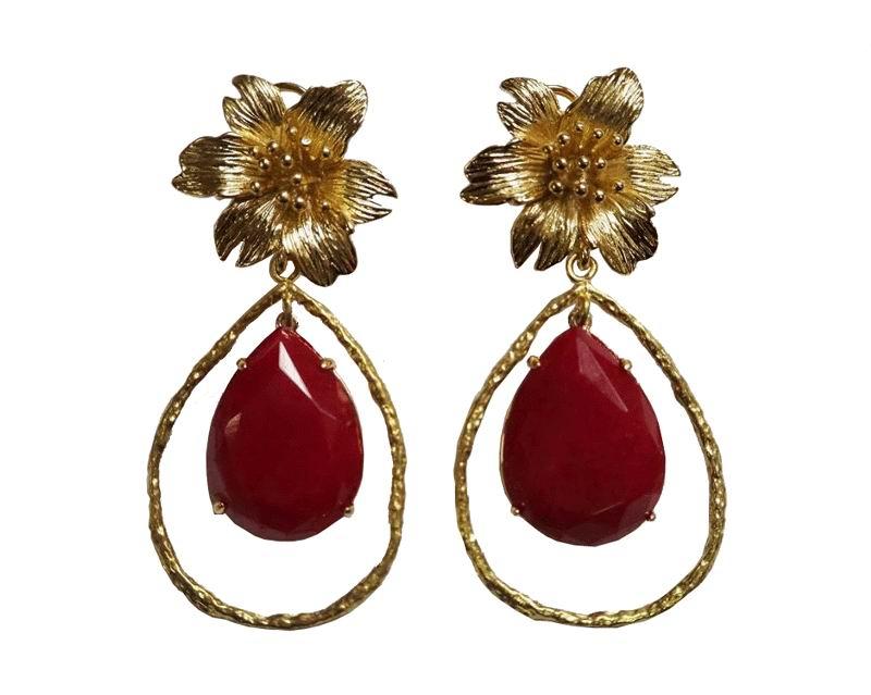 Pendientes de Bisutería Flor Dorada Piedra Roja con Aro