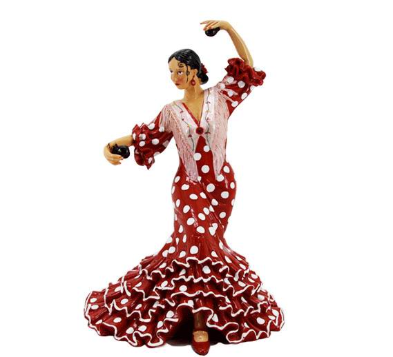 Flamenca Dancer with White Polka Dots Red Dress, Castanets and Shawl. 20.5cm