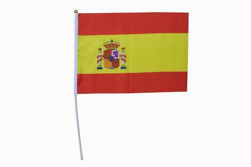 スペイン国旗 スティック付き. 24本パック. 42cmX31cm