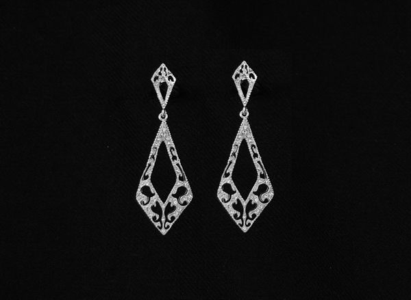 Rhodium Earrings for Bride with Swarovski Crystals ref. 51710