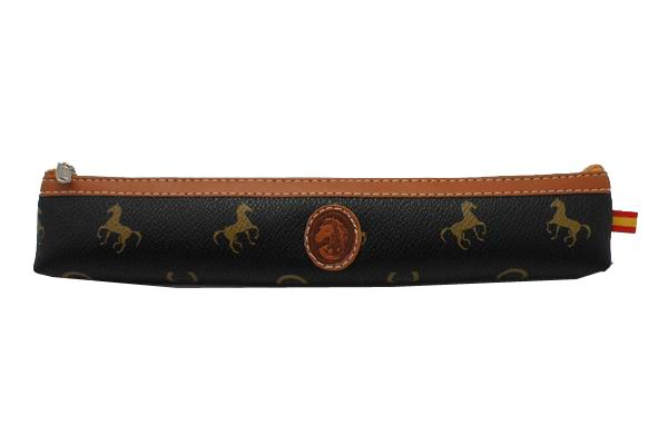 Case for Fan Maroquinerie in Black and Brown with Horses