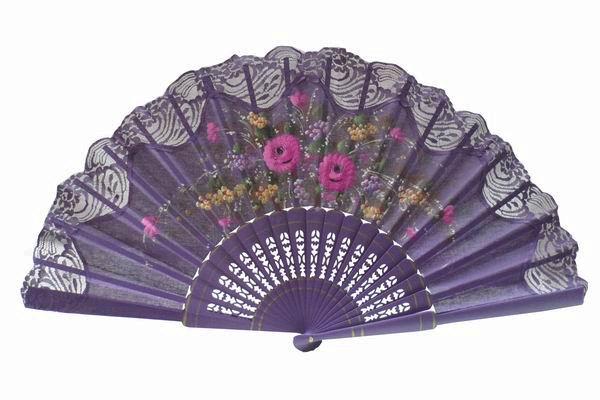 Hand Painted Fan With Purple Lace. ref. 150ENCJ