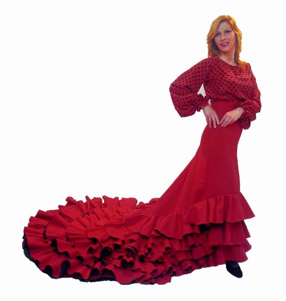 Red Flamenca Skirt with Train Model Albayzin
