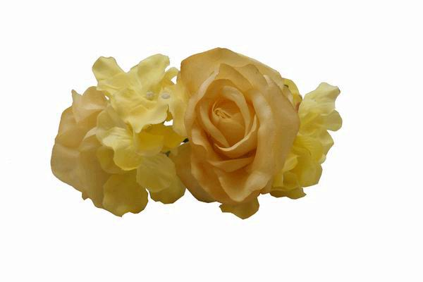 Yellow Roses and Other Flowers  Headdress. 22cm