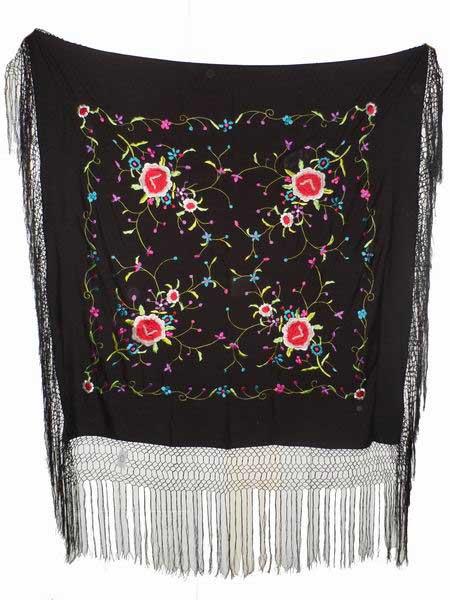 Machine Embroidered Manila Shawl. Ref. 1010214M. 105cm X 105cm.