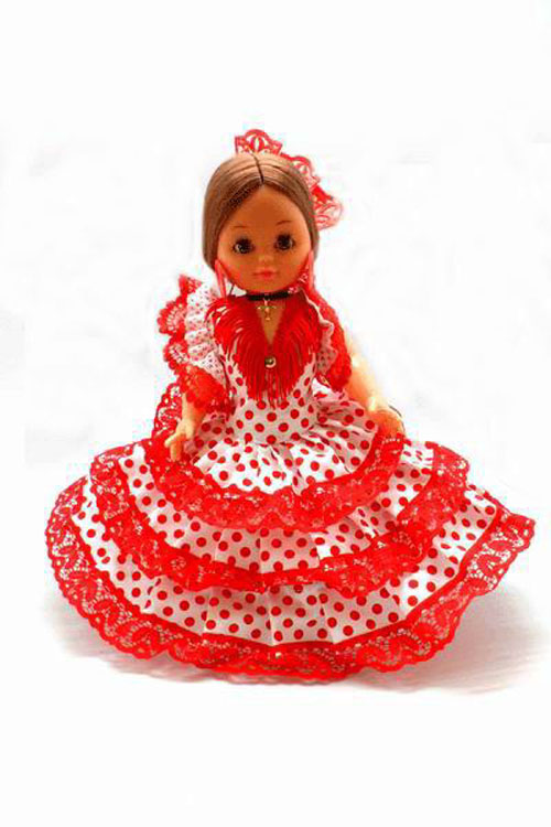 Flamenca Dolls from Spain with White with Red Dots and Red Comb. 35cm
