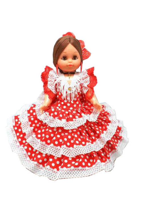 Spain Dolls with Red with White Dots Flamenco Dress and Red Comb. 35cm