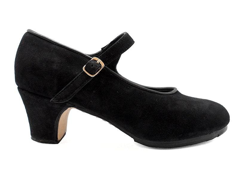 Black Suede Semi-Professional Flamenco Shoes Mercedes. Flamencoexport