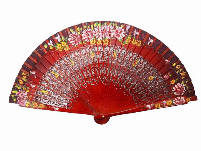Dark Red Fan with Fretwork and Hand-painted Flowers in both sides