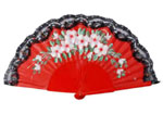 Wooden Red Fan with Painted Flowers and Lace 9.09€ #503282367