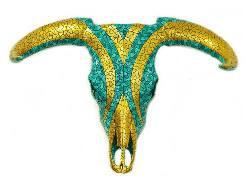 Turquoise Carnival Mosaic Bull Skull. 70cm