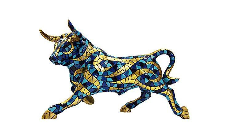 Blue and Gold Bull. Barcino Carnival Collection. 18cm