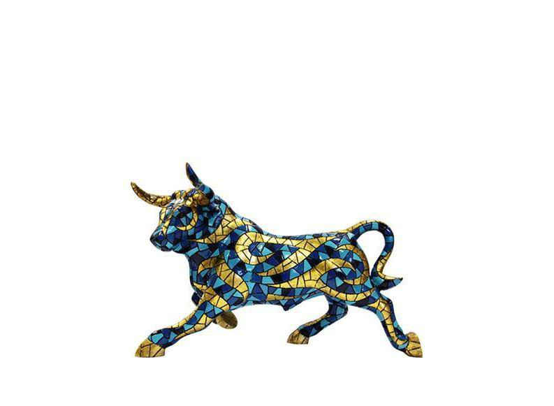 Gold and Blue Bull. Barcino Carnival Collection. 12cm